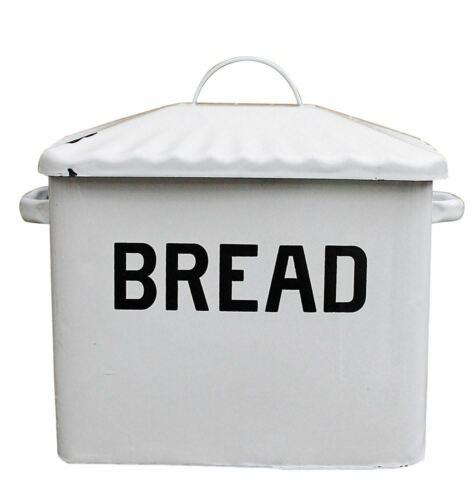 Vintage-Style Enameled Bread Box Antiqued White Metal Bin Enamelware Retro-Look