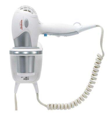 Sunbeam HD3001-001 1875 Watt Wall Mount Hair Dryer with LED Night (Wall Mount Hair Dryer With Retractable Cord)