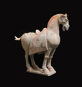 Chinese-Antique-Pottery-Clay-Tang-Dynasty-Style-Horse-Statue-WK2748