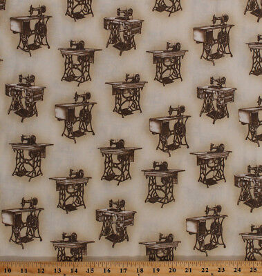 Cotton Antique Singer Sewing Machines Vintage Machines Fabric Print BTY D685.30, used for sale  Grand Rapids