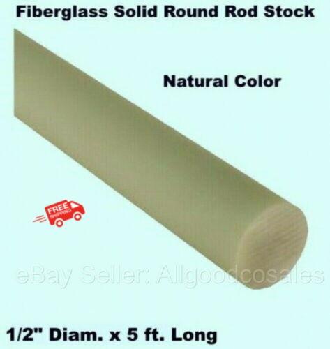"Fiberglass Solid Round Rod 1/2"" Diam. x 5 Ft. Long Stock Natural Color"