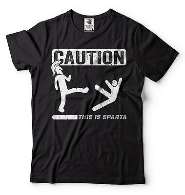 Spartan Funny (Caution This Is Sparta Cool T-shirt Funny Tee Shirt Spartan T-shirts Gym)
