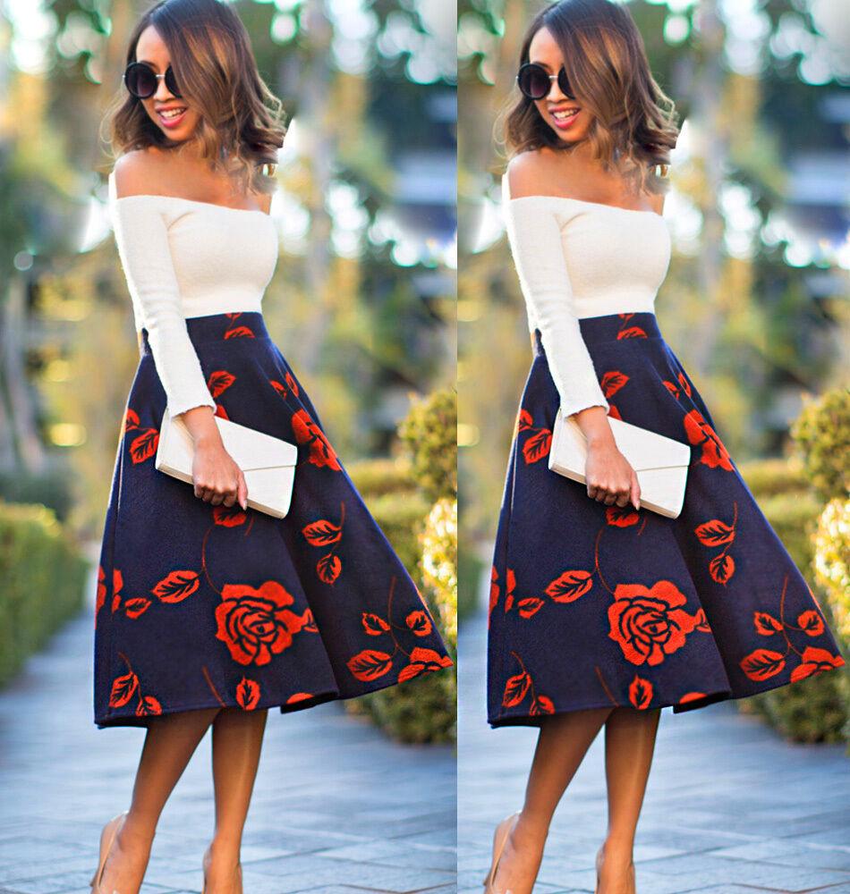 femme mode r tro coupe clepsydre jupe vas e taille haute robe mi longue soir e eur 9 53. Black Bedroom Furniture Sets. Home Design Ideas