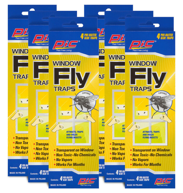6 Pack Pic Window Fly Traps Attracts And Holds Flying Insects Works For Months