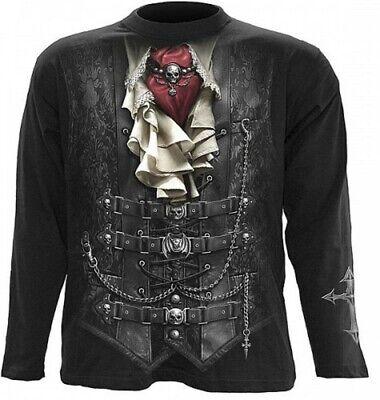 Gothic Biker Metal T-Shirt Hemd Longsleeve Langarmshirt Pirat Vampir schwarz