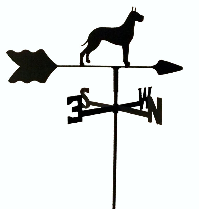 GREAT DANE  GARDEN STYLE WEATHERVANE BLACK WROUGHT IRON LOOK MADE IN USA TLS1023