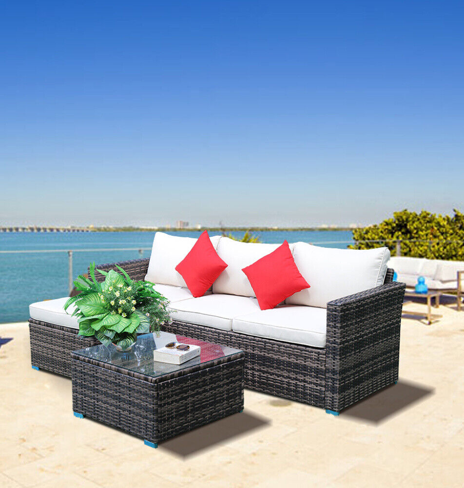 Garden Furniture - 5 PCS Garden Rattan Furniture Set Patio Outdoor Lounge Sofa Set Coffee Table