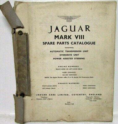 1956-1958 Jaguar Mark VIII Spare Parts Book List Manual Catalogue