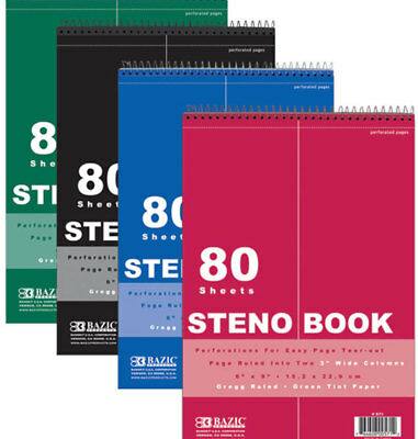 Bazic 80 Ct. 6 X 9 Green Tint Gregg Ruled Steno Book Case Pack 48