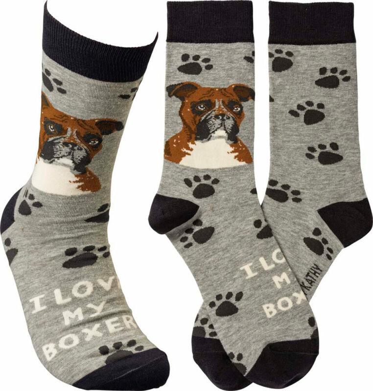 Boxer I Love My Dog Socks