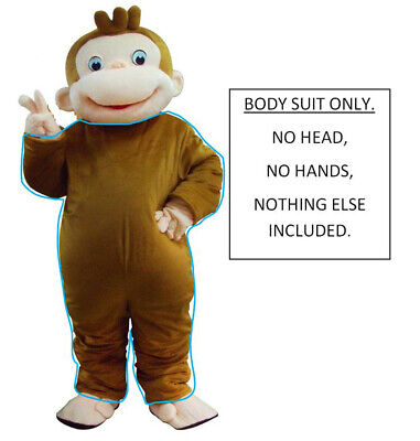 Birthday Suit Halloween Costumes (Curious George Brown Monkey Adult Mascot Costume Outfit Suit Birthday Halloween)
