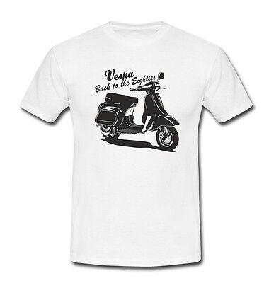 Schwarzes Retro-shirt (T-Shirt Vespa Roller Scooter Moped Retro 80er Herren weiß/schwarz S-XXL)