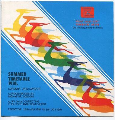 TUNIS AIR UK TIMETABLE SUMMER 1981