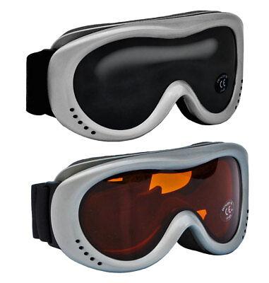 Kinder Snowboardbrille UV-Schutz Silber Skibrille Schneebrille Kinder-Skibrille