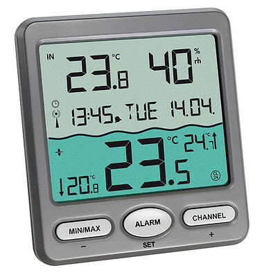 FUNK-POOLTHERMOMETER VENICE TFA 30.3056.10 TEICH AQUARIUM SCHWIMMBADTHERMOMETER