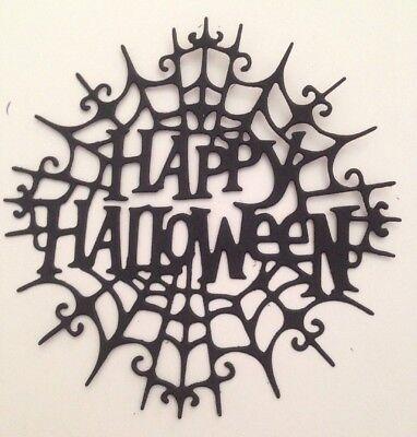 Happy Halloween In Spider Web 6 Pcs Black Die Cut Embellishments 3-3/4
