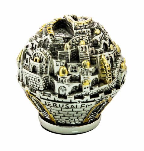 Silver Plated Jerusalem Ball Miniature - Sculpture - Judaica Jewish Art Gift