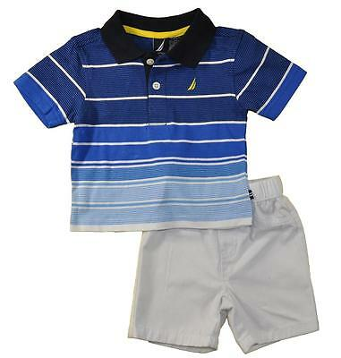 Nautica Infant Boys Striped Blue Polo 2pc Short Set Size 0/3M 3/6M 6/9M $42