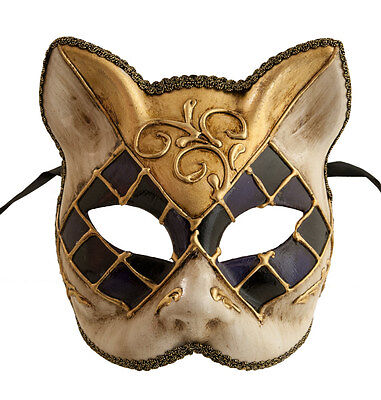 Mask Cat Venetian Carnival Venice-Mosaic Black Purple Golden -1942-V83B