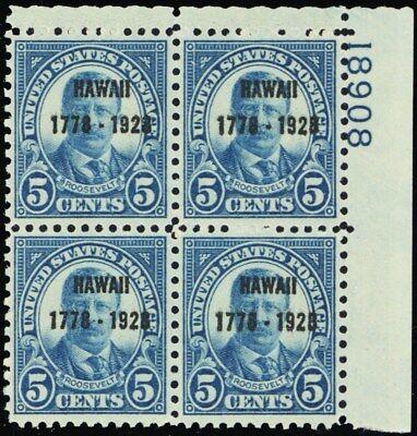 648, VF NH 5¢ Hawaii Plate Block of Four Stamps Cat $375.00 - Stuart Katz