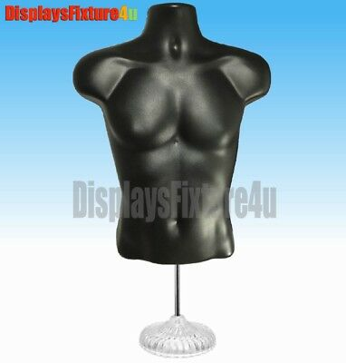 New Male Mannequin Form Hook Standdress Torso Display Man Apparel Shirt - Black