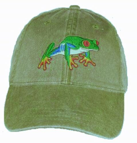 Red-eyed Treefrog Embroidered Cotton Cap NEW Tree Frog Hat