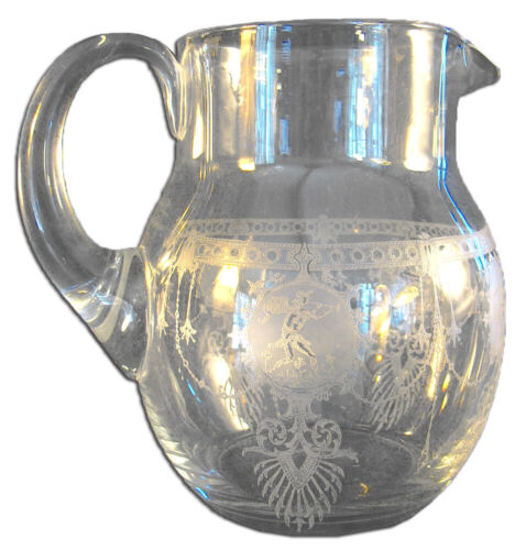 Blown Glass Water Pitcher with Applied Handle Etched with Musicians and Dancers