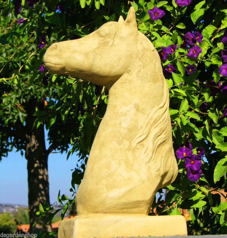 HORSE BUST Outdoor Concrete Garden Estate Finial Art Equestrian Pony Trophy (V)