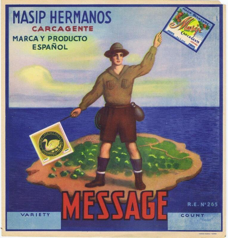 Message Boy Scouts sending flag signaling  original Spanish Orange Crate label