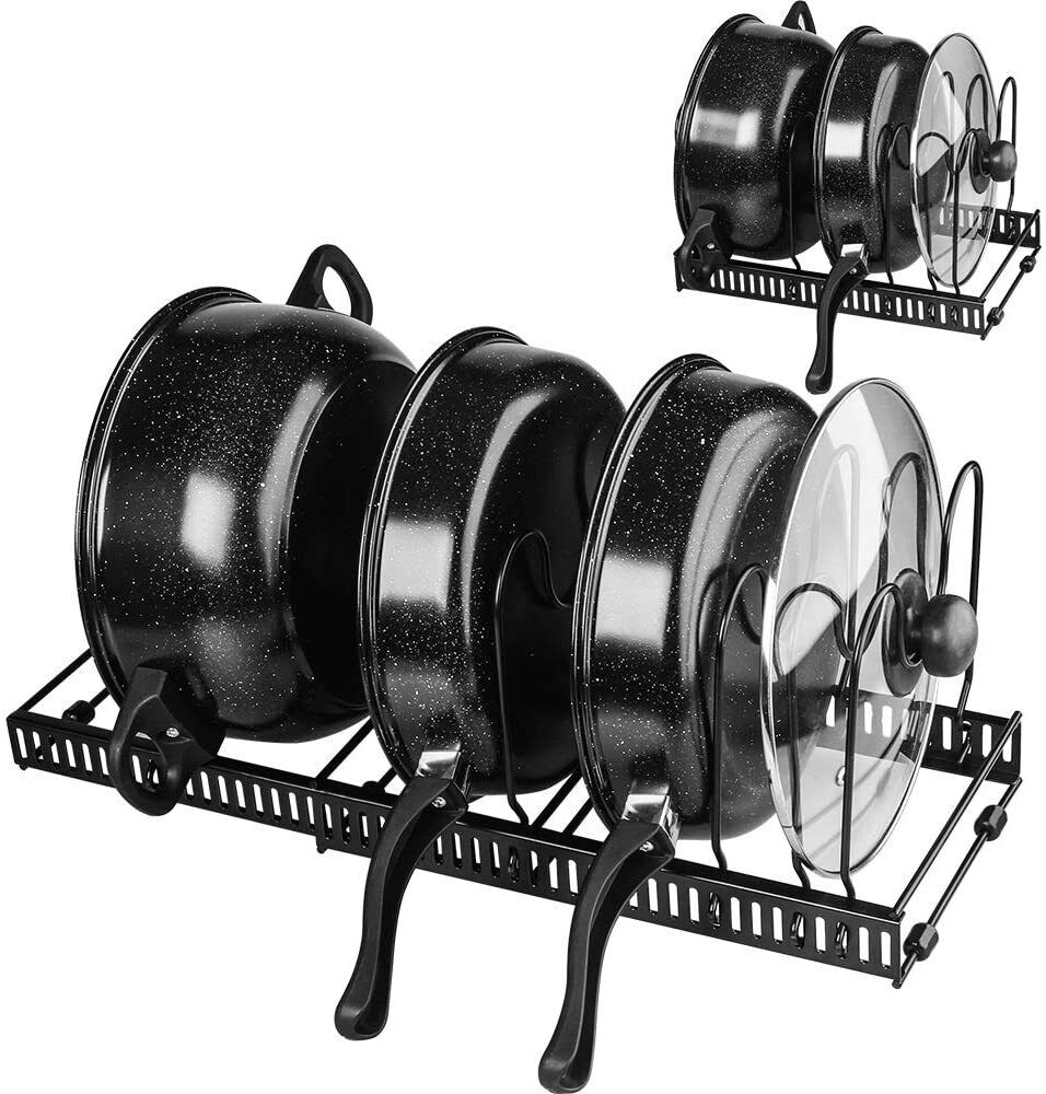 Expandable Pot and Pan Organizer Lid Holder Kitchen Cabinet Pot Lid Storage Rack
