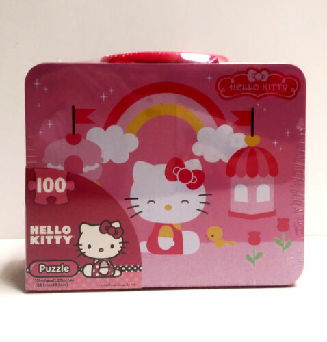 Hello Kitty 100 pieces Puzzle in Tin Lunch Box Carry All Bag NEW