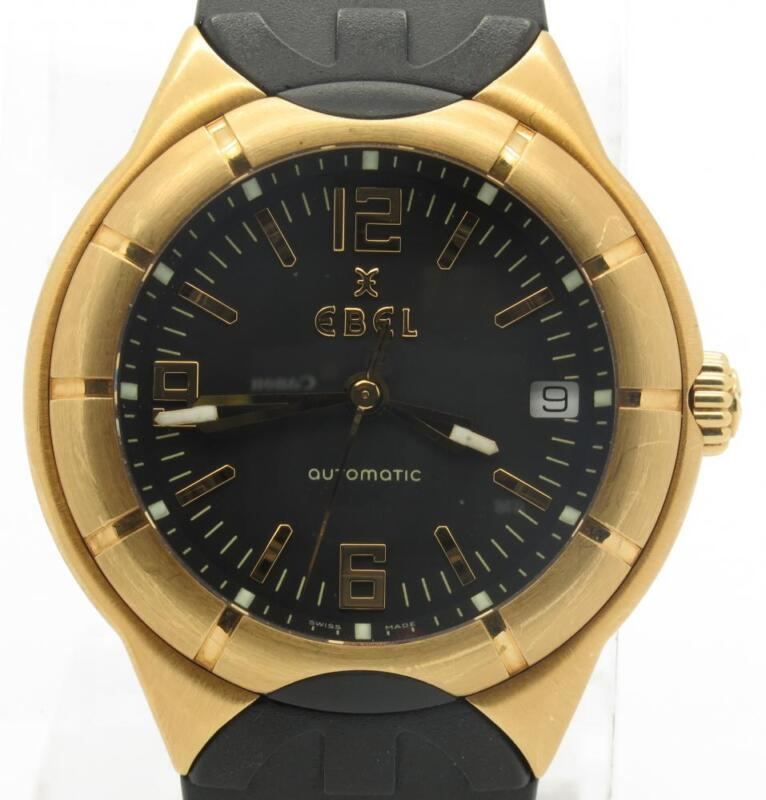Ebel Type E Automatic Solid 18k Yellow Gold W/ Date On Rubber Strap E8330c41