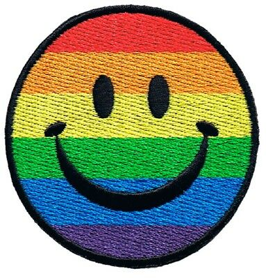 - Rainbow Smiley Face Patch - Happy Face, Smile, Pride (Iron on)