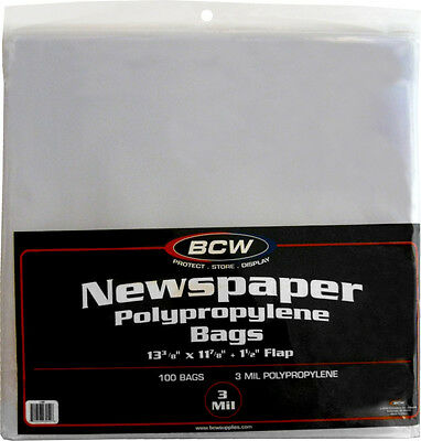 """(500) BCW NB Newspaper Bags Covers Outer Sleeves 13 3/8"""" x 11 7/8"""" Store Display"""