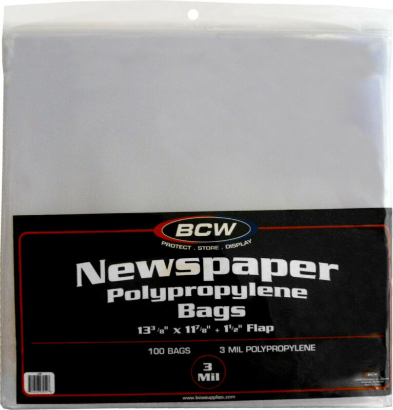 """(100) BCW NB Newspaper Bags Covers Outer Sleeves 13-3/8"""" x 11-7/8"""" Storage"""