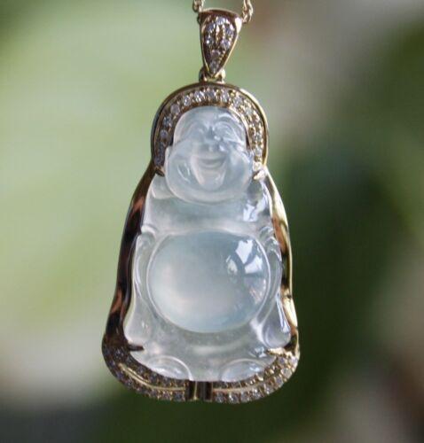 Certified Natural (A) Icy Translucent Jadeite Jade Buddha Diamonds Gold Pendant