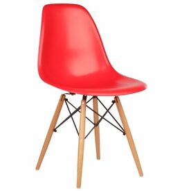 Set of 4 Red Retro Chairs NEW