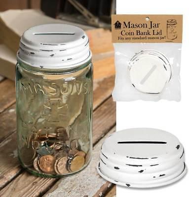 Country Primitive Vintage White Mason Jar Coin Bank Lid
