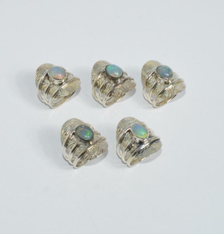 WHOLESALE 5PC 925 SOLID STERLING SILVER NATURAL ETHIOPIAN OPAL RING LOT o790