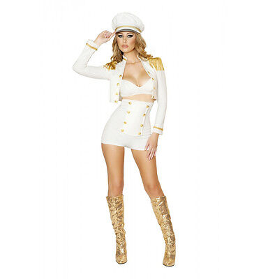 Roma 3pc Sultry Sailor Babe White & Gold Bra Top, Shorts & Jacket Costume 4521 - Roma Sailor Costume