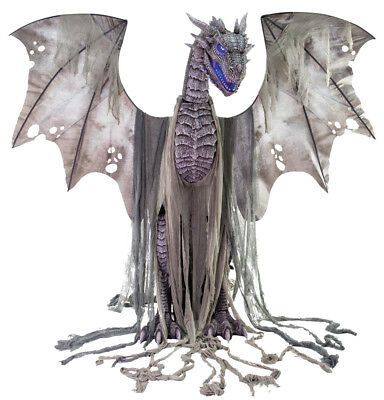 Dragon Halloween Props (HALLOWEEN LIFE SIZE ANIMATED WINTER DRAGON  PROP DECORATION HAUNTED HOUSE 7)