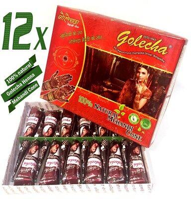 12 X 12 Natürliche (12x Golecha Henna Paste Cones Kegel, 100% natürlich, No Mix, No P.P.D | 300g)