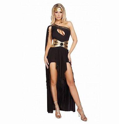 Erwachsene Damen Kostüm Griechische Göttin Toga Kleid Schwarz Gold S/M