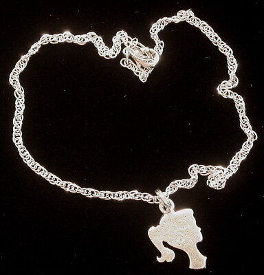 Barbie Doll Silhouette Anklet Ankle Bracelet OMS & Sterling Silver Ptate Chain