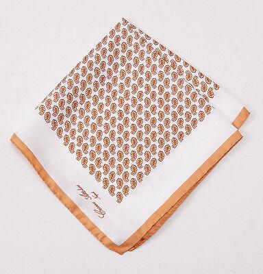 New CESARE ATTOLINI NAPOLI Golden Brown Paisley Print Silk Pocket Square