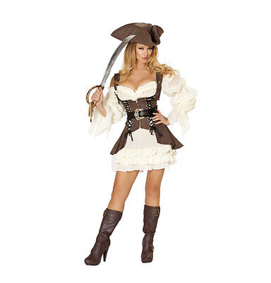 Deluxe Pirate Wench Kostüme (Roma 4pc Naughty Ship Wench Pirate Ruffled Dress, Sword, Hat Deluxe Costume 4529)