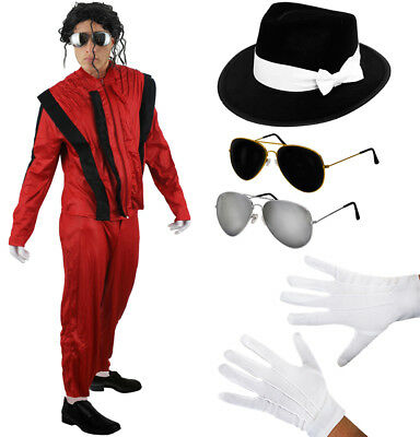 Celebrity Halloween Costumes Men (MENS JACKO COSTUME HAT GLASSES GLOVES HALLOWEEN FANCY DRESS OUTFIT)
