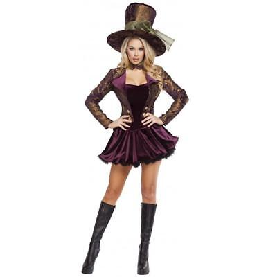 Roma 5pc Tea Party Tease Mad Hatter Deluxe Purple Velvet Dress Costume - Deluxe Tea Party Hatter Costume