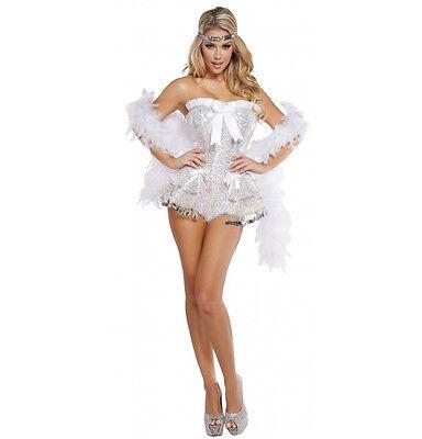 Roma Flirty Flapper Showgirl Silver Sequin White Strapless Bodysuit Costume 4622 ()