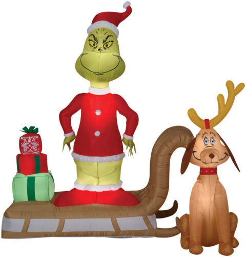 6 Ft GRINCH AND MAX ON SLED Christmas Airblown Lighted Yard Inflatable PRESENTS